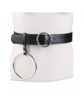 Round Metal Pin Buckle Circle Embellished Belt