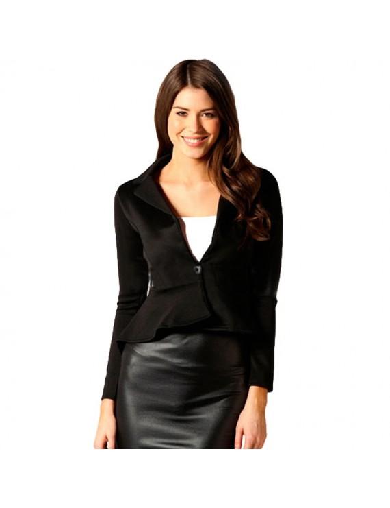 New Fashion Women Blazer Button Front Long Sleeve Irregular Hem Slim Short Jacket Coat Outerwear