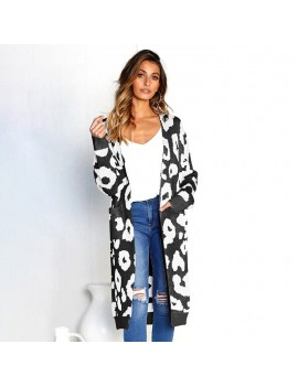Autumn Women Long Knitted Cardigan Sweater Leopard Print Long Sleeve Pocket Knitwear Winter Outerwear Jumper