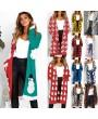 Autumn Women Long Knitted Cardigan Sweater Leopard Print Long Sleeve Pocket Knitwear Winter Outerwear Jumper