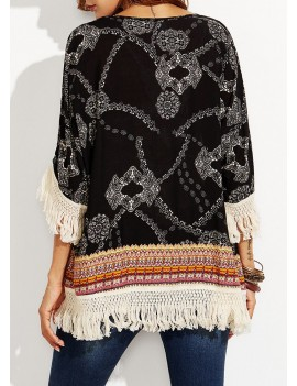 Leisure Style Bohemian Printed Tassels Assorted Colors Cardigan