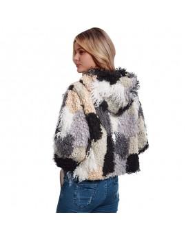 Fashion Women Autumn Winter Faux Fur Hooded Coat Color Block Open Front Fluffy Short Cardigan Outerwear Jacket Khaki
