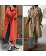 Autumn Winter Women Jacket Coat Large Lapel Solid Overcoat Double-breasted Long Sleeve Pockets Casual Outerwear Beige/Orange