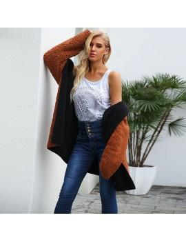 Fashion Women Hooded Coat Cashmere Fleece Open Front Thick Warm Cardigan Jacket Outerwear Overcoat