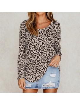 Fashion Women Loose T-shirt Leopard Print O Neck Long Shirt Plus Size Pullover Basic Tunic Tops Khaki