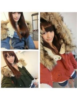 Fashion Women Thick Fleece Parka Faux Fur Hooded Outwear Winter Coat Blue