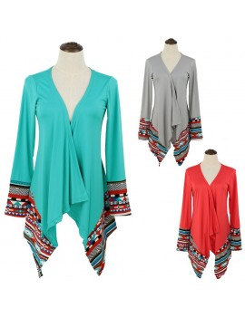 Europe Women Outerwear Open Front Geometric Print Irregular Hem Long Sleeve Thin Casual Loose Cardigan Cape Coat