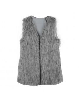Fashion Elegance Women Warm Faux Fur Shaggy Vest Sleeveless Waistcoat Long Jacket Coat Outwear