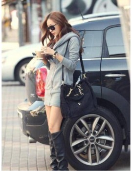 Fashion Women Thick Coat Zipper Closure Hoodies Outerwear Grey