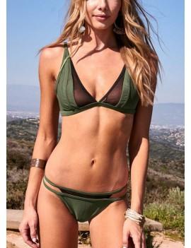Brazilian Mesh Splice Cut Out Bandage Bikini Set