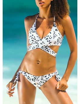 Women Swimwear Halter Bandage Backless Padded Wireless Swimsuit Beach Wear Bikini Set