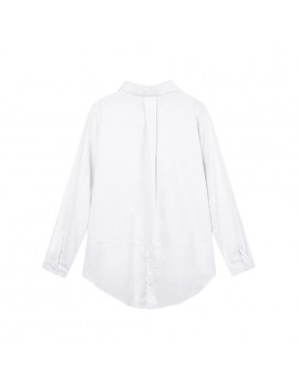 New Fashion Women Loose Shirt Solid Turn-Down Collar Long Sleeve Pocket Casual Blouse Tops White/Pink