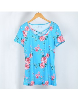 Fashion Women Floral Print T-shirt Short Sleeves Cross Straps Tees Shirts Casual Tops
