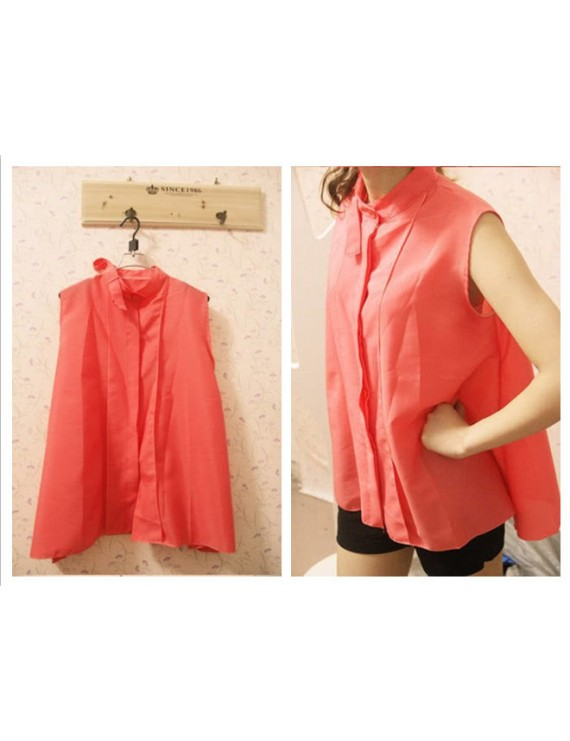 Fashion Summer Women Chiffon Shirt Sleeveless Stand Collar Tops Loose Retro Elegant Blouse Watermelon Red