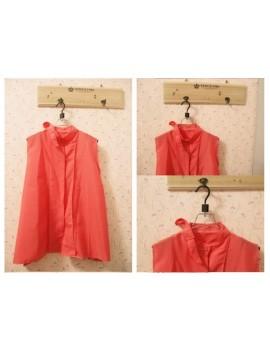 Fashion Summer Women Chiffon Shirt Sleeveless Stand Collar Tops Loose Retro Elegant Blouse Watermelon Red