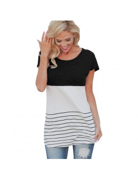 Fashion Women Color Block Striped T-Shirt Short Sleeve Casual Slim Knitted Tee Tunics Blouse Tops Black