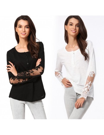 Casual Women Blouse Stitching Lace Mesh Splicing T-Shirt Long Sleeve Shirt Slim Leisure Top Black
