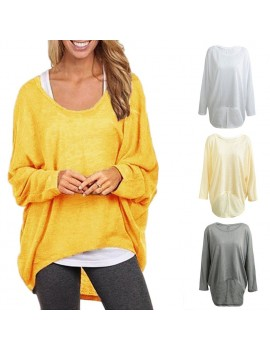 New Fashion Women Blouses O neck Batwing Long Sleeve Irregular Hem Casual Loose Solid Shirts Top 9 Colors