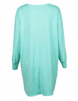 Fashion Women T-Shirts Tops Big Size Round Collar Dip Hem Casual Plus Size Tees Blue/Green