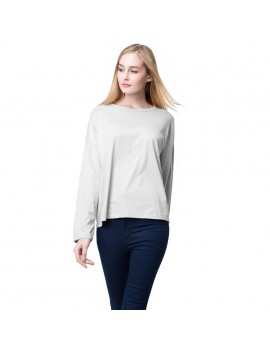 Fashion Women Casual T-Shirt Hollow Out Back Long Sleeve Pullover Black/Grey/Pink