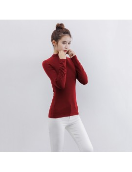 Fashion Women Autumn Solid Color T-Shirt Half Collar Long Sleeve Thin Elastic Slim Bottoming Top