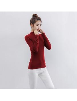 Fashion Women Autumn Solid Color T-Shirt Half Collar Long Sleeve Thin Elastic Slim Bottoming Top