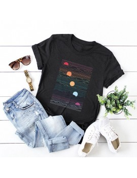 Fashion Women T-shirt Short Sleeves O Neck Sunrise Print Plus Size Cotton Cool Tees Casual Tops