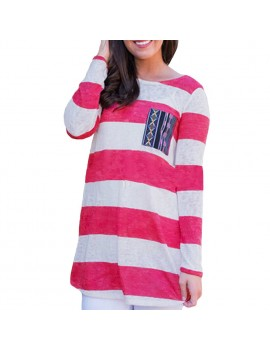 New Fashion Women T-Shirt Contrast Stripe Chest Pocket Long Sleeve Casual Comfy Blouse Tops Tee Rose