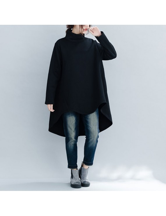 Fashion Women Hoody Solid High Neck Long Sleeve Fleece Asymmetric Loose Pullover Sweatshirts Hoodie Tops Black/Burgundy