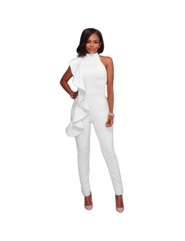 New Fashion Women Side Ruffle Cold Shoulder Jumpsuit High Neck Sleeveless Playsuit Slim Party Club Bodysuit Rompers