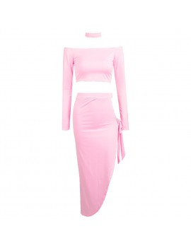 Sexy Women Off Shoulder Two Piece Set Long Sleeve Tie Side Slit Asymmetric Party Club Dress Crop Top + Skirt with Choker