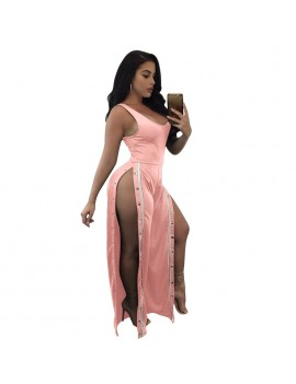 Sexy Women Sleeveless Jumpsuit Scoop Neck Split Side Button Long Pants One Piece Playsuit Rompers Black/Red/Pink