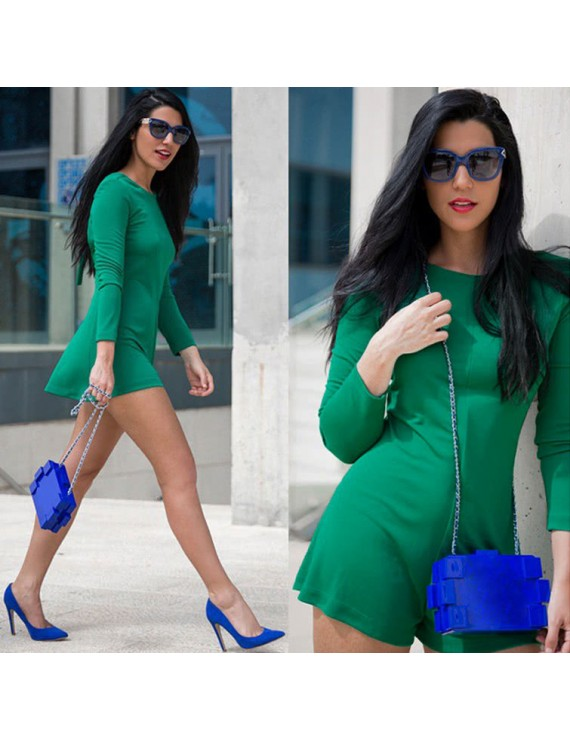 Europe Women Jumpsuit Mini Dress Wide Leg Zipper Back Round Neck Long Sleeves Shorts Playsuit Nightclub Rompers Green