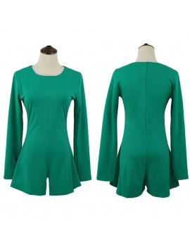 Europe Women Jumpsuit Mini Dress Wide Leg Zipper Back Round Neck Long Sleeves Shorts Playsuit Nightclub Rompers Green