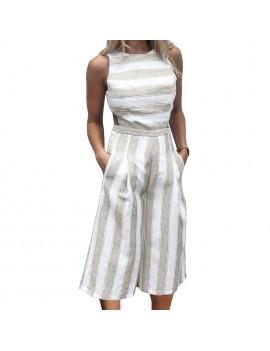 Sexy Women Stripe Jumpsuit Sleeveless Backless Zipper Shirred Wide Leg Playsuit Rompers Blue/Grey/Khaki