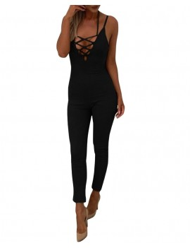 Sexy Women Jumpsuit Lace Up Bodysuit Strap V-Neck Backless Bodycon Playsuit Rompers Overalls