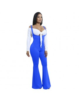 Women Jumpsuit Solid Suspender Strap Sleeveless Open Back Wide Flared Legs Bell Bottom Sexy Overalls