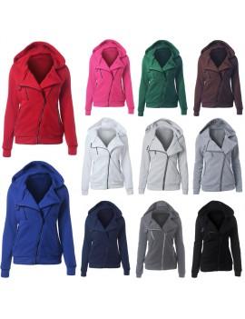 New Women Hoodies Sweatshirt Autumn Winter Long Sleeve Zipper Hooded Coat Outerwear Warm Tracksuit Streetwear