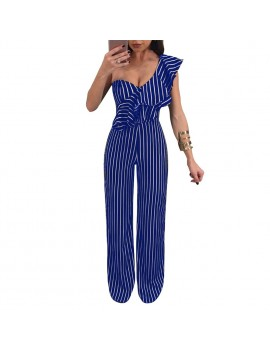 Sexy Women Striped Ruffle Wide-Leg Jumpsuit Single Shoulder High Waist Party Club Slim Rompers Playsuit