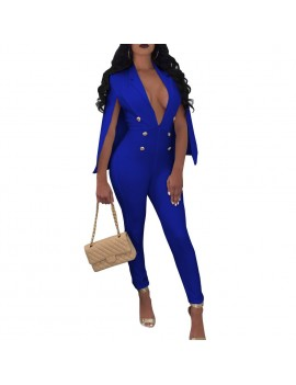 New Sexy Women V Neck Jumpsuit Buttons Cloak Cape Bodysuit Rompers Long Pants One Piece Overalls