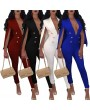 New Sexy Women V Neck Jumpsuit Buttons Cloak Cape Bodysuit Rompers Long Pants One Piece Overalls