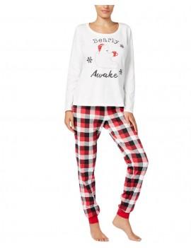 New Women Two-Piece Set Pajama Christmas Sleepwear O-Neck Long Sleeves Casual House Tops Pants White