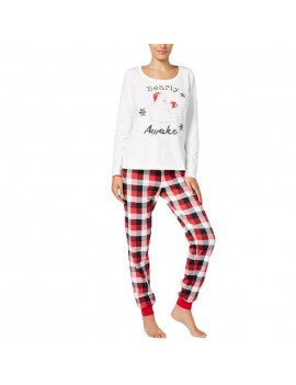 New Women Two-Piece Set Pajama Christmas Sleepwear O-Neck Long Sleeves Casual House Tops Pants White