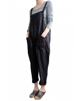 Vintage Women Jumpsuit Solid Strappy Sleeveless Pockets Buttons Wide Legs Loose Harem Bib Pants