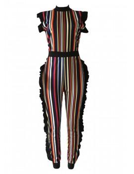 Women Bodycon Striped Jumpsuit Ruffle Sleeveless Zip Slim Romper Body Suits