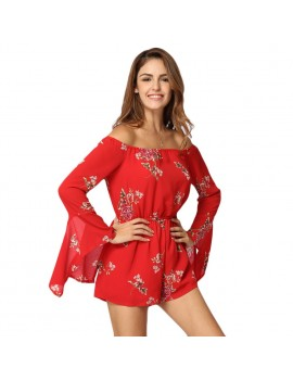 Sexy Women Jumpsuit Floral Print Off Shoulder Backless Long Sleeves Casual Holiday Playsuit Rompers Red