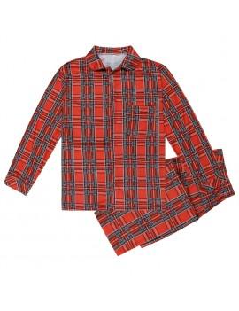 Family Mom Women Two-Piece Set Plaid Pajama Sleepwear Long Sleeves Button Casual House Wear Top Pants