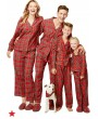 Family Mom Women Two-Piece Set Plaid Pajama Sleepwear Long Sleeves Button Casual House Wear Top Pants