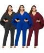 Fashion Women Plus Size Jumpsuit Plunge V Neck Batwing Sleeve Cape Back Long Pants Playsuit Rompers Black/Burgundy/ Royal Blue