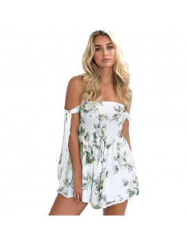 Sexy Women Backless Floral Print Jumpsuit Off The Shoulder Elastic Drawstring Romper Playsuit Beach Party Short Overalls White/Blue